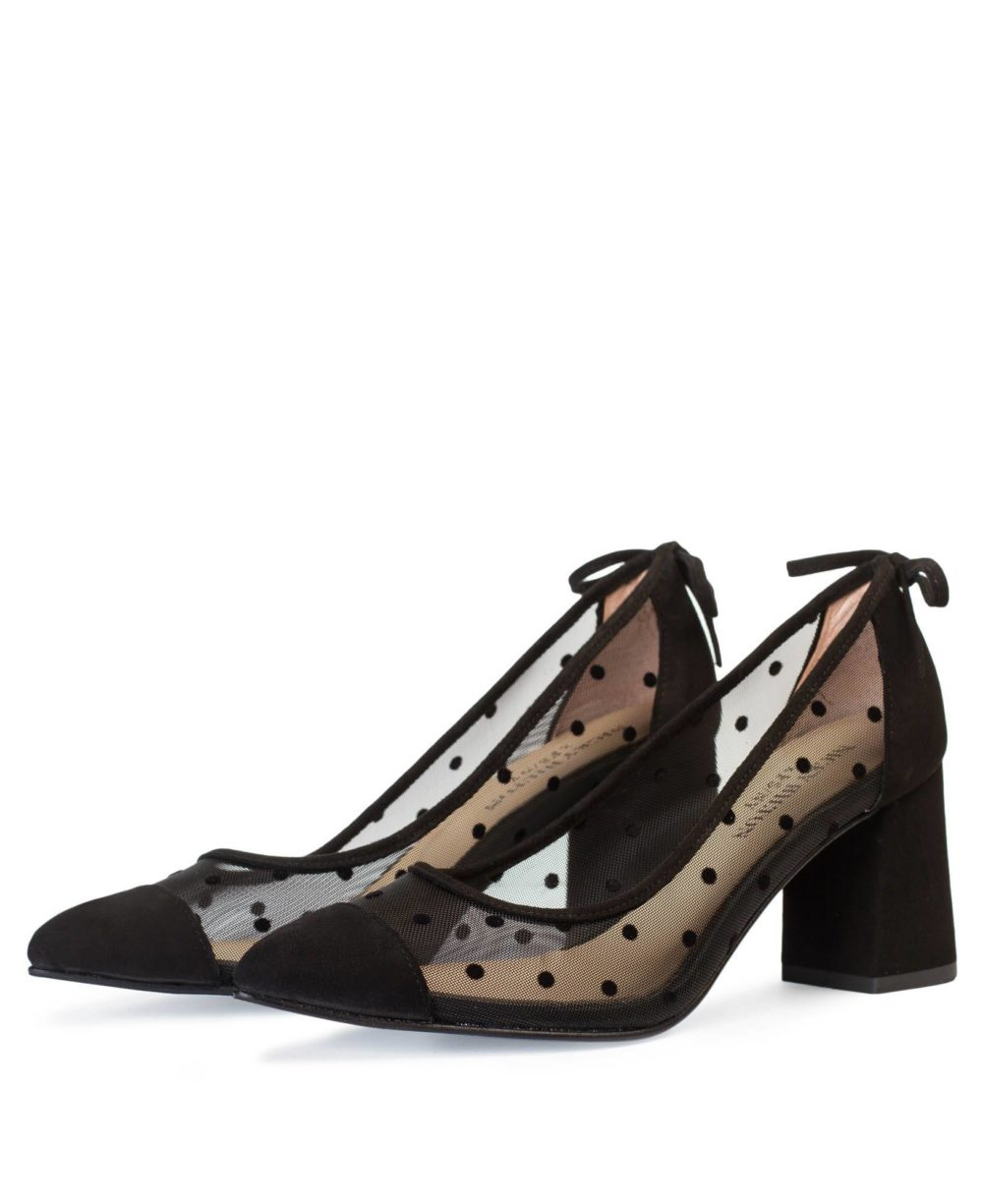 Holly Black Polka Dot-Suede D