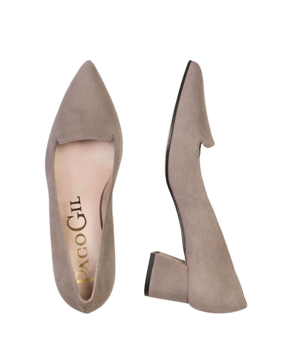 Zapatos de piel Paco Gil. P-3418X Topo Suede C