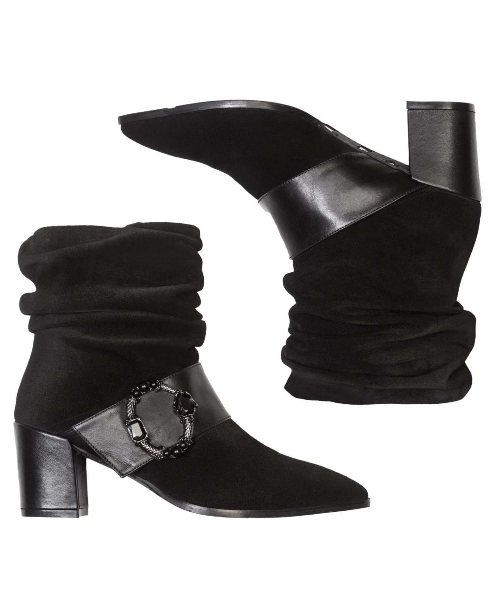 Leather ankle boots Paco Gil - P-3841 Black Velour-Bravo C