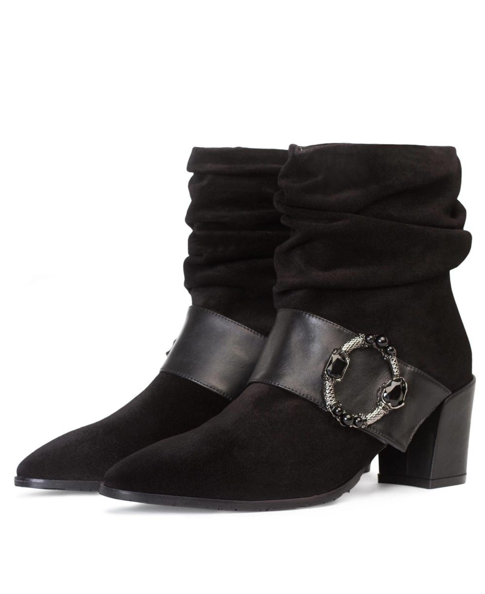 Leather ankle boots Paco Gil - P-3841 Black Velour-Bravo D