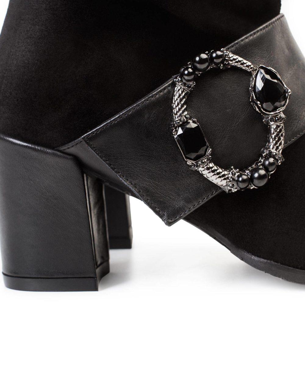 Leather ankle boots  Paco Gil - P-3841 Black Velour-Bravo Detalle