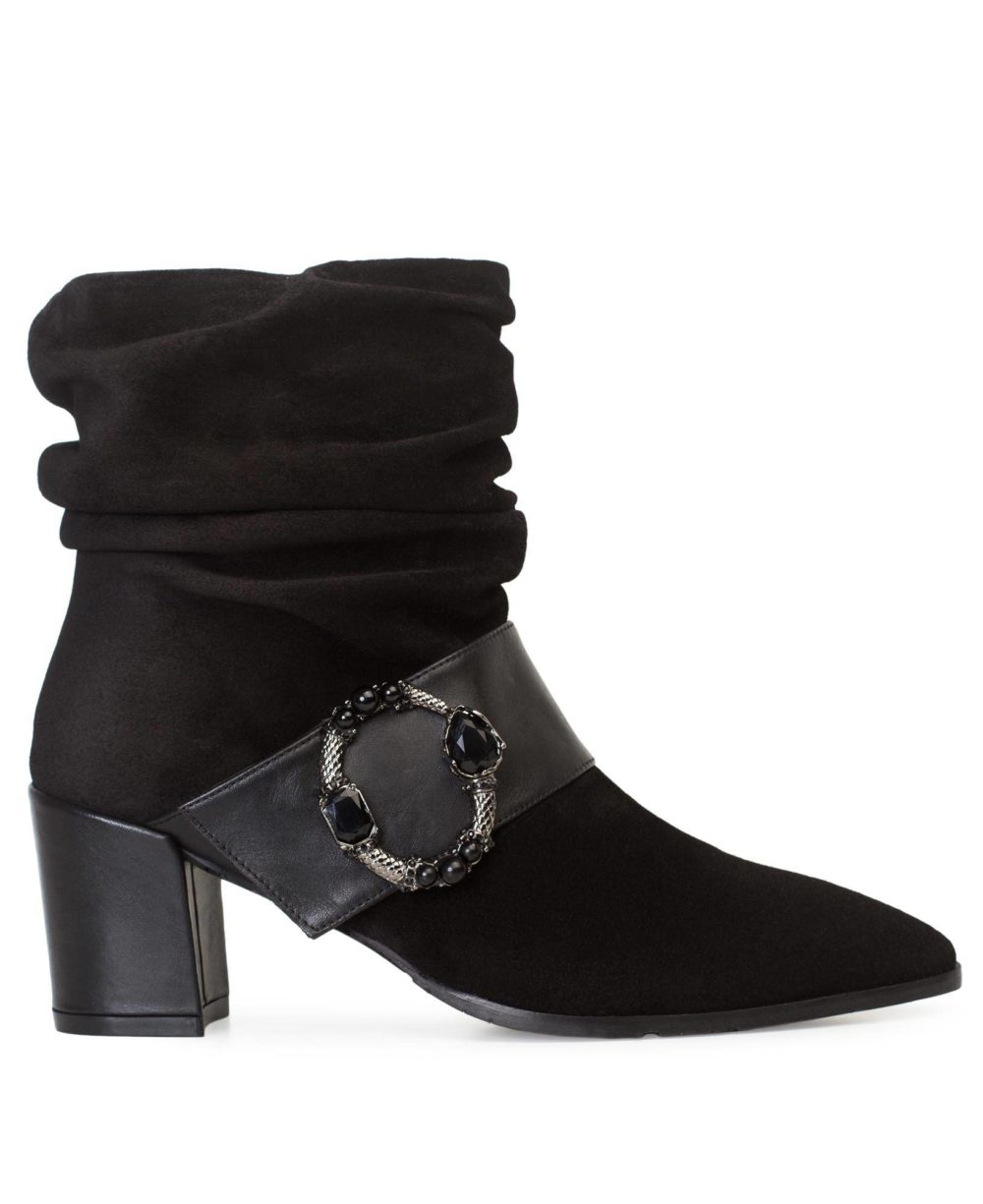Leather ankle boots  Paco Gil - P-3841 Black Velour-Bravo P