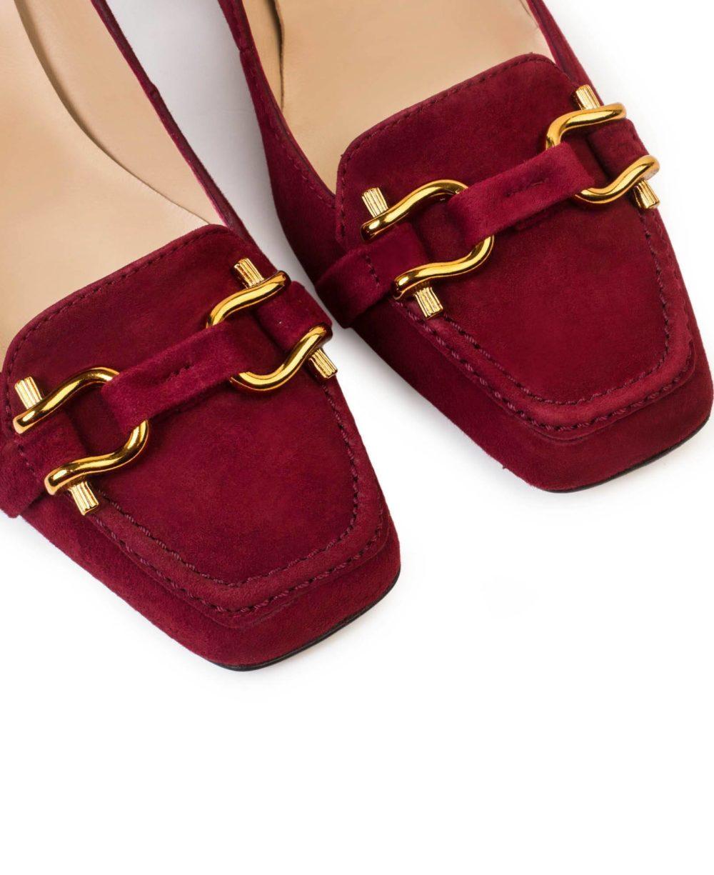 Zapatos de piel Paco Gil -P-3871 Wine Suede Detalle