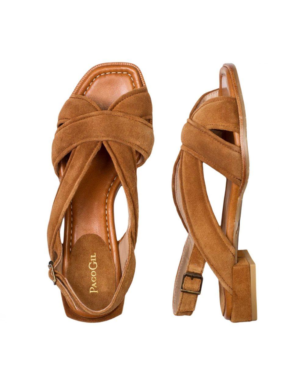 Sandalias de Piel Paco Gil - P-3917 Cuoio Velour par