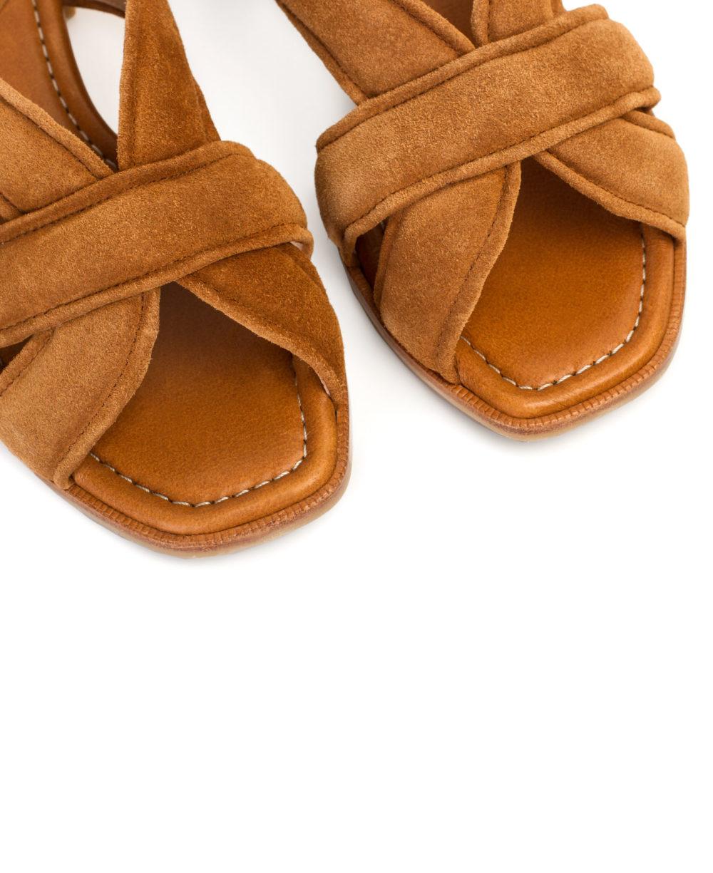 Sandalias de Piel Paco Gil - P-3917 Cuoio Velour Detalle