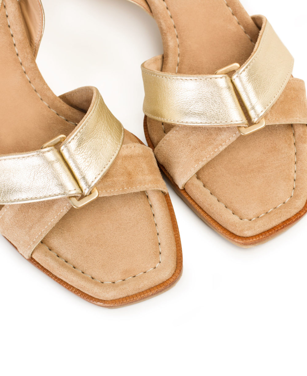 P-3923 Natural Velour Platino Metalgrain Leather Sandals by Paco Gil
