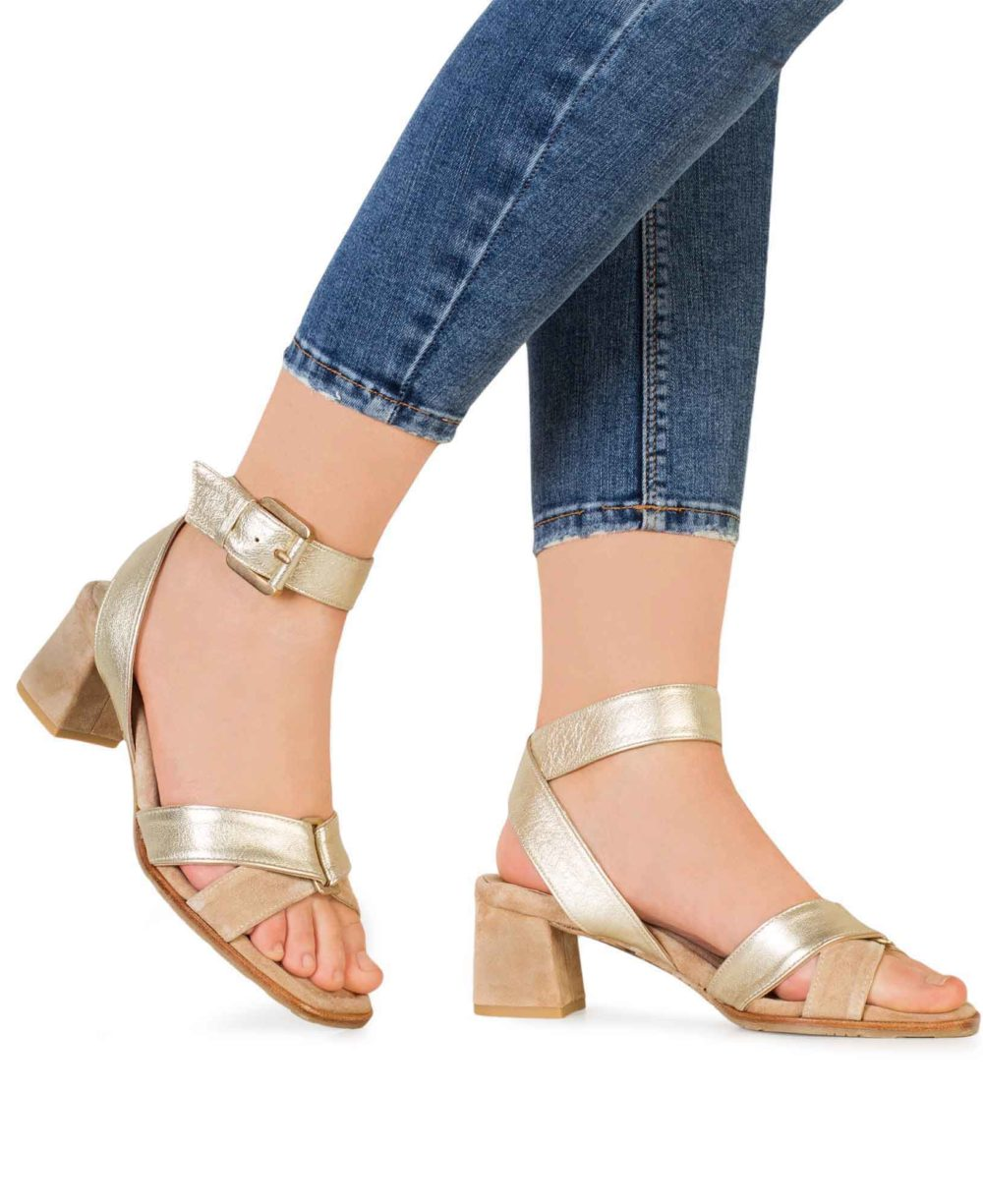 P-3923 Natural Velour Platino Metalgrain Leather Sandals by Paco Gil Piernas