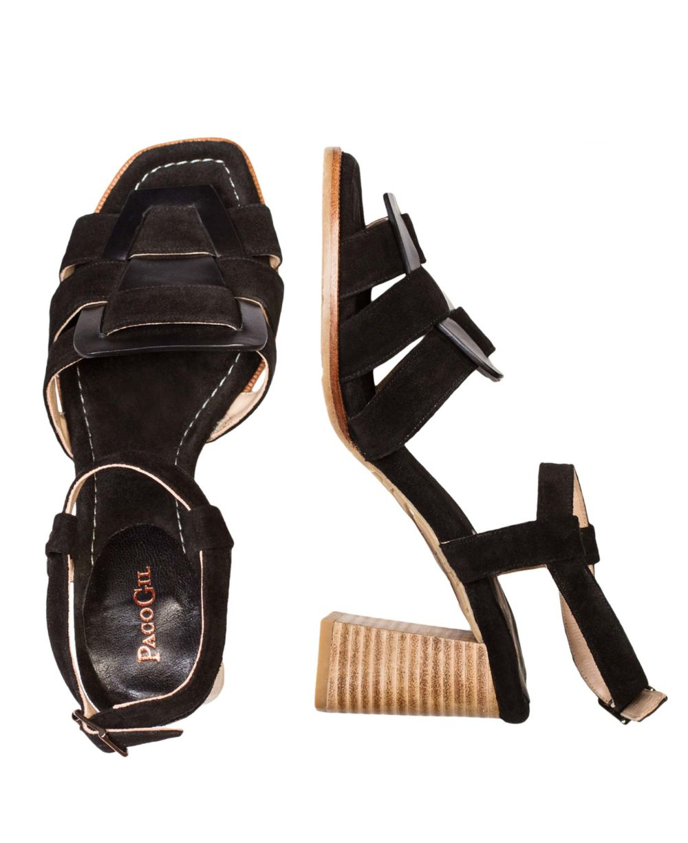 P-3931 Black Madison Velour Leather Sandals by Paco Gil