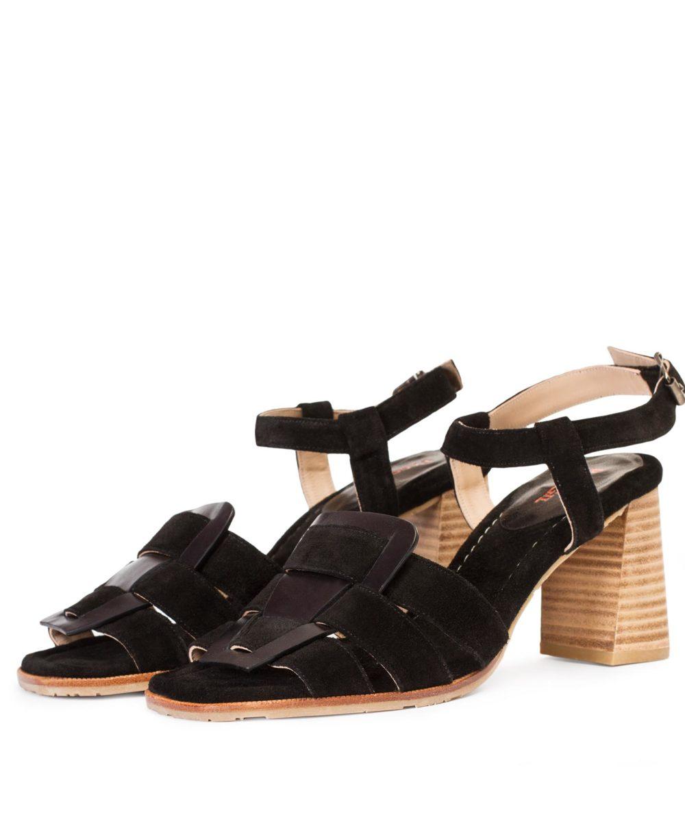 P-3931 Black Madison Velour Leather Sandals by Paco Gil par