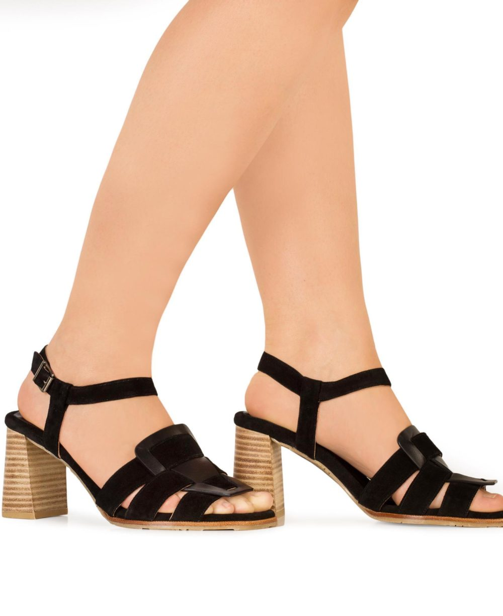P-3931 Black Madison Velour Leather Sandals by Paco Gil Piernas